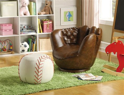 baseball chair with ottoman kids baseball glove chair ottoman