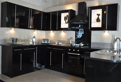 black gloss kitchen cabinets black glass new kitchens 1