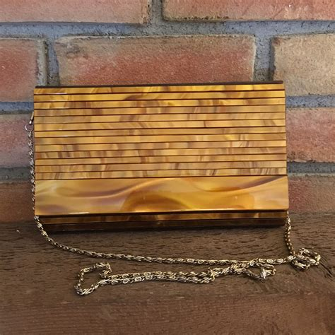 Mcclintocks Marbled Lucite Clutch The Bag by Vintage Lucite Clutch Tortoiseshell Lucite Purse Elka