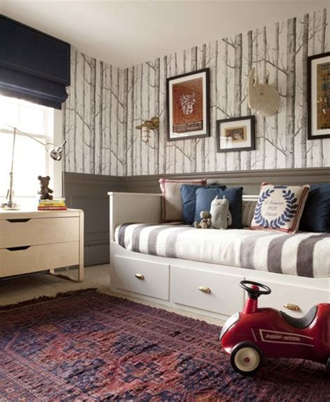 boys bedroom wallpaper gray wainscoting eclectic boy s room nam dang