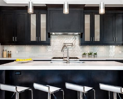 White Wall Tiles Color And Dark Minimalist Cupboard Design