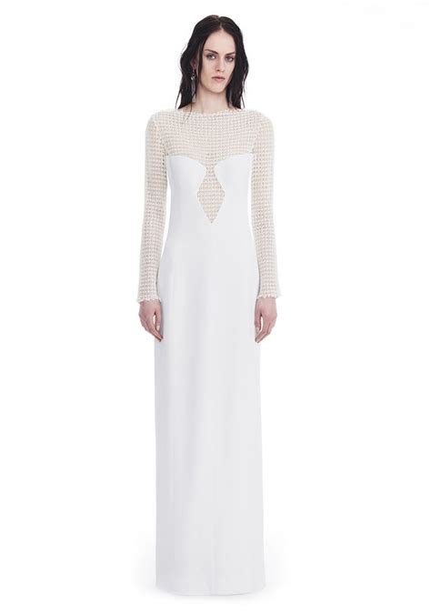 Sleeved Lace Panel Dress wang sleeved column gown with front lace