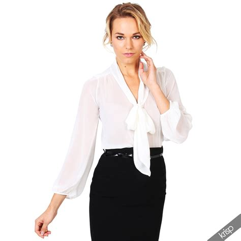Bow Sleeve Chiffon Top womens see through chiffon blouse bow tie top sleeve