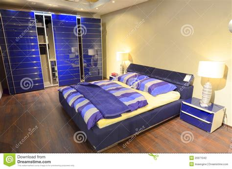 modern blue bedroom spacious sleeping area royalty free stock photography