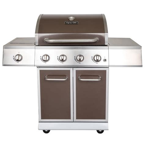 dyna glo 4 burner propane gas grill in bronze with