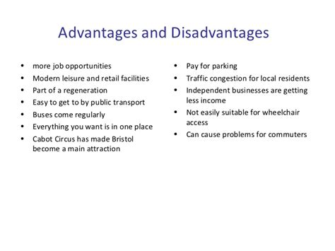 retail layout advantages and disadvantages cabot circus ab and ad ppt