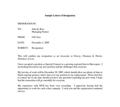 letter of resignation layout formal resignation letter format