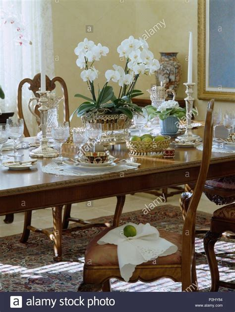 chinese dining room set white orchid  pot  vintage