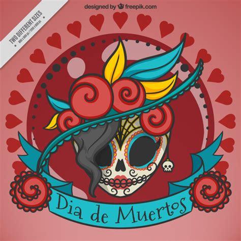 imagenes de calaveras sin color fondo de elegante calavera mexicana descargar vectores