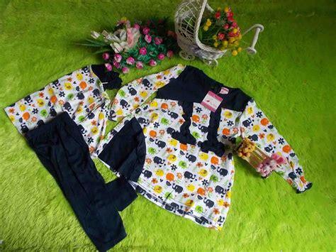Setelan Gajah Anak plus jilbab setelan baju muslim bayi motif gajah navy jual gamis bayi grosir gamis bayi