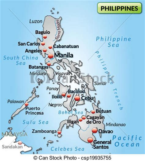 Philippines Search Free Map Of Philippines As An Overview Map In Gray Clipart