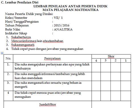 format absensi siswa kurikulum 2013 format penilaian analitika sikap sosial kritis siswa antar