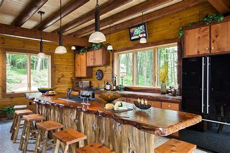 log bar tops hickory cabinets with slab wood counter tops pic wood