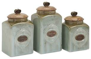 Kitchen Jars And Canisters Coffee Sugar Tea Retro Blue Ceramic Canisters Set Of 3