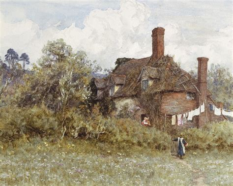 Victorian Home Plans in the spring painting by helen allingham