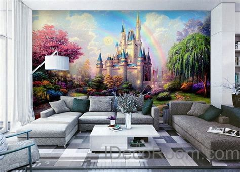 disney wallpaper room decor 3d tinkerbell fairy castle wall paper rainbow disney