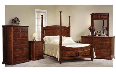 amish bedroom set with 4 poster bed in rustic cherry wood