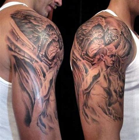 tattoo angel and demon sleeve sleeve tattoos angels and demon sleeve tattoo design