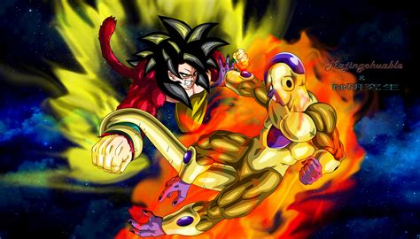 imagenes de goku golden goku ssj4 vs golden freezer v2 by majingokuable on deviantart