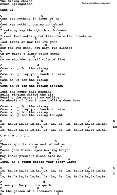 s day lyrics bruce springsteen song lyrics with guitar chords for the rising bruce