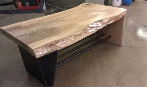 Hand Made Steel And Wood Waterfall Coffee Table By Custom Made Coffee Table