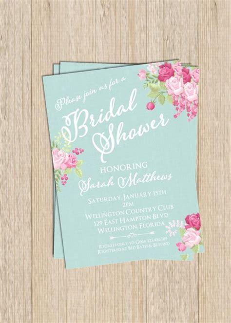 printable vintage bridal shower invitations vintage blue floral bridal wedding shower invitation