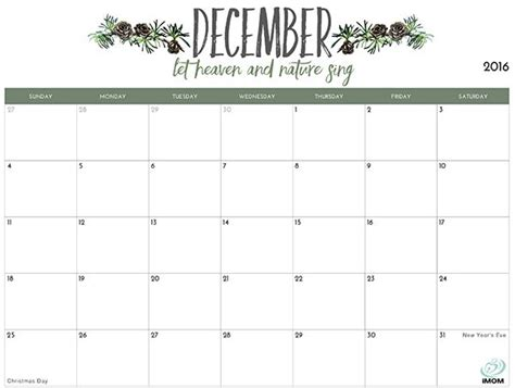 printable calendar  moms calendar december