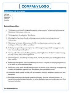 List Of Job Duties Template Phlebotomist Job Description Freewordtemplates Net