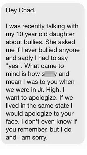Apology Letter To My Boyfriend For Lying Chadmichael Morrisette Receives Apology From Bully 20 Years After Leaving School Daily Mail
