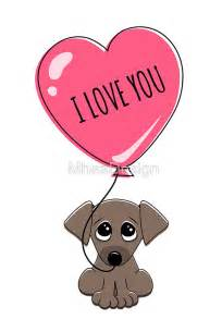 Hearts Wall Stickers quot cute puppy dog holding heart balloon with text i love you