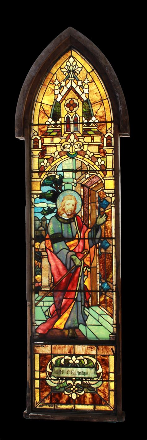 Stained Glass Windows For Doors Antique Early American Knocking At The Door Stained Glass Window