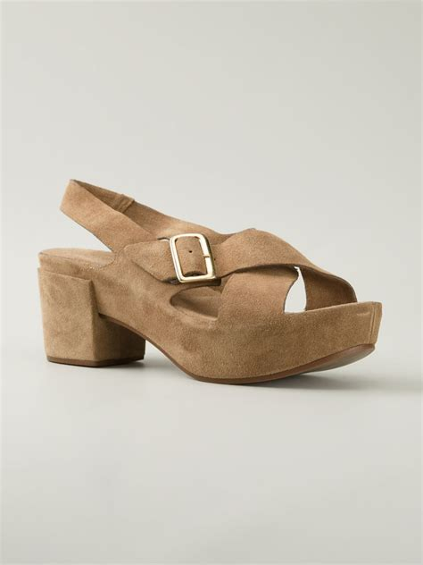 beige heeled sandals roberto carlo chunky heel sandals in beige