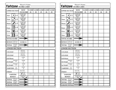 printable yahtzee score card yahtzee score sheet printable google search games