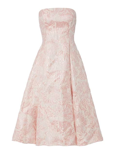 papell strapless floral jacquard midi dress in pink lyst