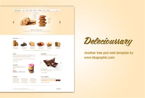 Delecioussary Cookies Website Template Psd Cookie Website Template