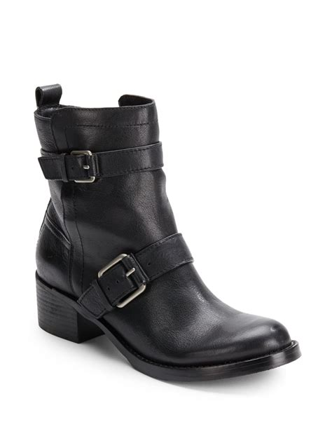 black leather moto boots lucky brand hanae leather moto boots in black lyst