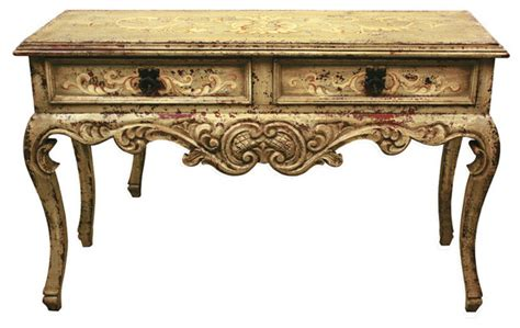 Old World French Melissa Sage Sofa Table Distressed Grey Yellow Sofa Table