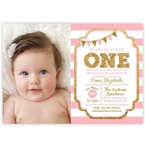 baby 1st birthday invitations 2 pink and gold 1st birthday invitation ellison reed