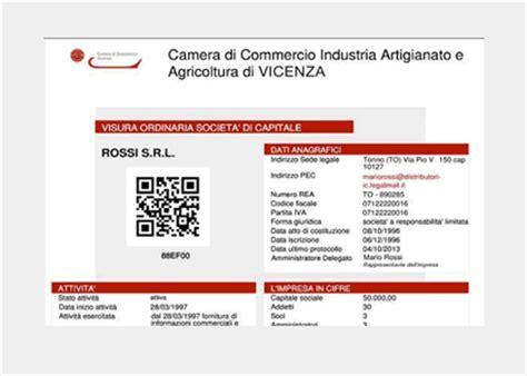 certificato di commercio on line visura camerale