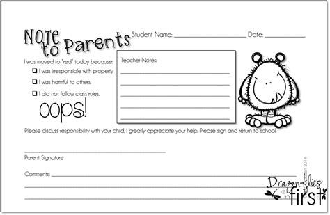 Parent Letter Home Template 8 best images of bad behavior notes to parents student