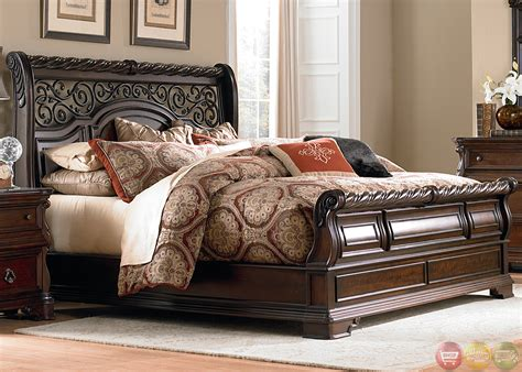sleigh king bedroom set arbor place european traditional brownstone sleigh bedroom set