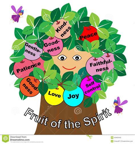 tutti i frutti testo frutti dello spirito illustrazione vettoriale immagine