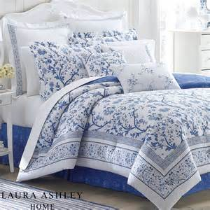 blue and white floral comforter bedding by