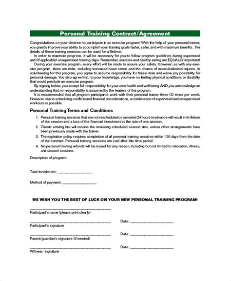 16 Training Agreement Contract Sles Sle Templates Personal Agreement Contract Template