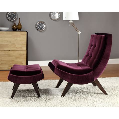 velvet chair and ottoman lashay velvet lounge chair ottoman purple accent