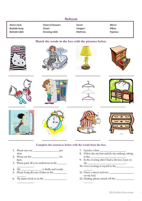 bedroom vocabulary list bedroom vocabulary worksheet free esl printable
