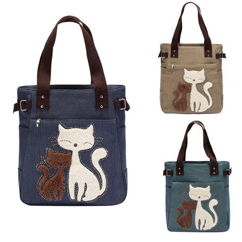 cat print shoulder bag canvas cat print handbag shoulder bag tote purse