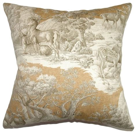 Toile Throw Pillows by Feramin Toile Pillow Safari Front Rustic Decorative