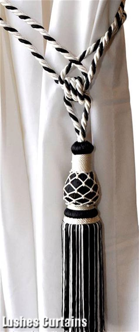 white rope curtain tie backs 1 black white window drape hardware curtain drapery