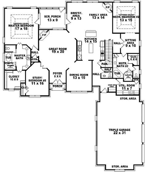 654269 4 Bedroom 3 5 Bath Traditional House Plan With Ranch House Plans With Two Master Suites